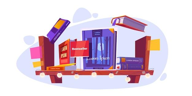 Bestseller en boeken staan op houten boekenplank. boekje, dagboekvolumes met kleurrijke paperback die in stapel liggen en boven van plank vliegen die op muur in bibliotheek of opslag hangen, cartoon vectorillustratie