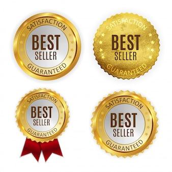 Bestseller golden shiny label sign collection set.
