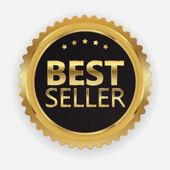 Bestseller gouden label teken.