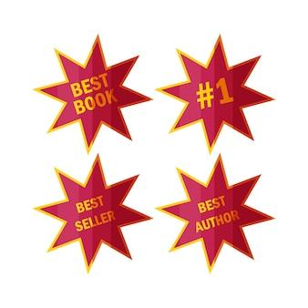 Bestsellerstickers en -badges etiketten voor topboekverkopers in cartoonstijl