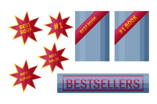 Bestsellerstickers en -borden etiketten voor topboekverkopers in cartoonstijl