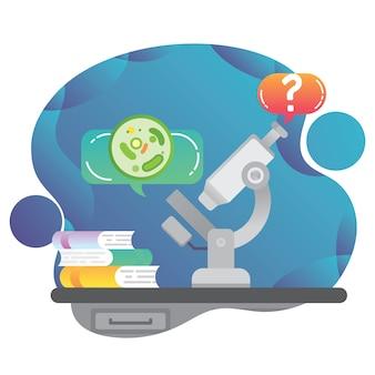 Bestudeer biologie en wetenschap vectorconcept voor computer- en mobiele telefoon-apps