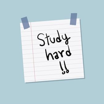 Bestudeer de illustratie van de harde kleverige nota