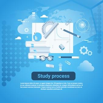 Bestudeer de webbanner van het proces met exemplaarruimte op blauwe achtergrond