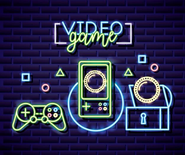 Besturing, console, cooins en objecten, neon lineaire stijl van videogame