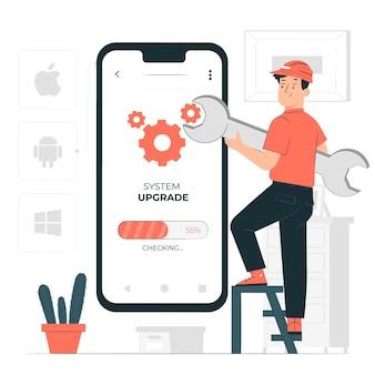 Besturingssysteem upgrade concept illustratie