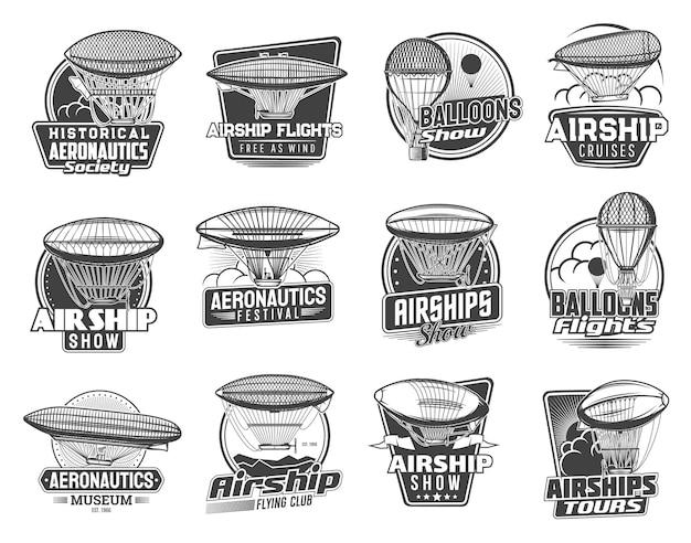 Bestuurbare luchtschepen en ballonnen iconen van zeppelin, vintage luchtvervoer.