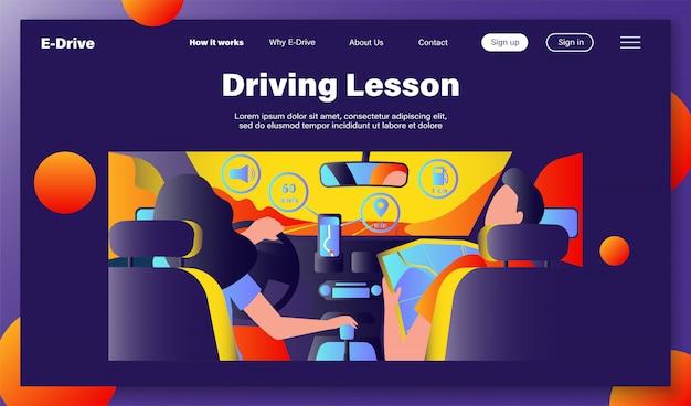 Bestuurder en passagier navigeren op de weg binnen de kaart