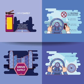 Bestuurder veilig campagne ingesteld iconen vector illustratie ontwerp