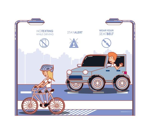 Bestuurder veilig campagne label vector illustratie ontwerp