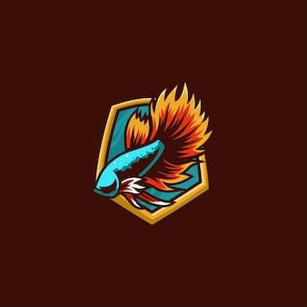 Beta vis mascotte e-sport logo ontwerp