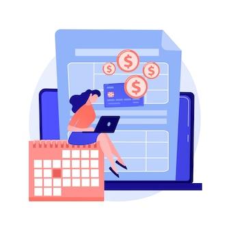 Betaal een saldo verschuldigd abstract concept vectorillustratie. kredietbetaling doen, verschuldigd geld aan een bank betalen, verschuldigd irs-saldo, schuldconsolidatie en -beheer, abstracte metafoor van de belastingbetalerrekening.