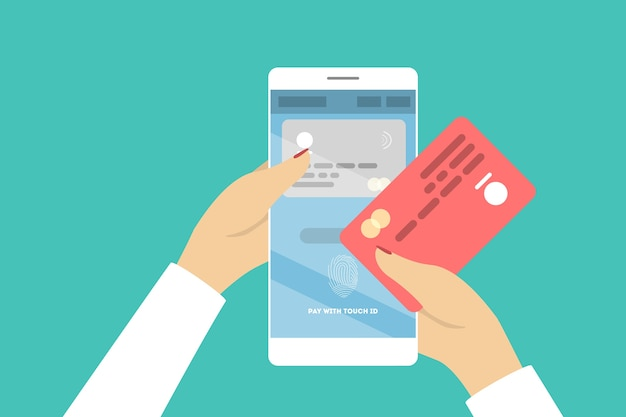 Betaal met touch id. nieuwe technologie voor apparaat.