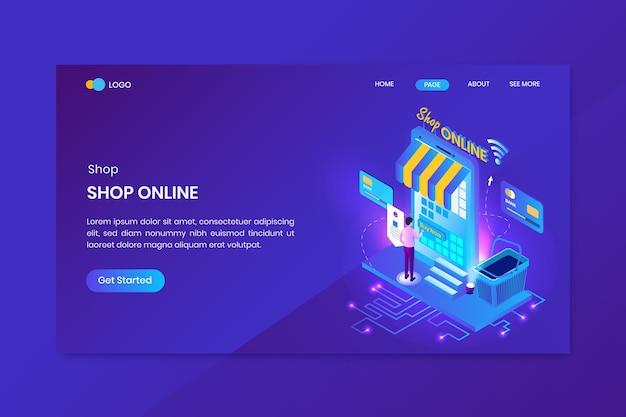 Betaal online winkel isometrische concept bestemmingspagina