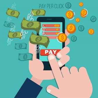 Betaal per klik mobiel advertentieconcept