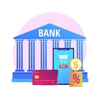 Betaalkaart. elektronische overboeking. kleurrijke stripfiguren met plastic creditcard. bankieren, krediet, aanbetaling. contactloos betalingssysteem