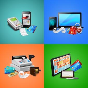 Betaalkaarten biometrische beveiligingssysteem rekeningen kassa en mobiele apparaten composities