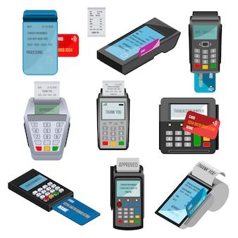 Betaalmachine pos bankterminal voor creditcard betalen via machinale cardreader of kassa in winkel illustratie set geïsoleerd op een witte achtergrond