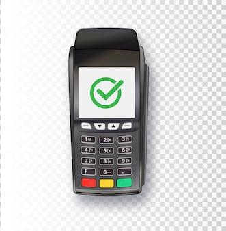 Betaalmachine pos terminal bank betaalterminal ontwerpsjabloon mockup vector realistisch zwart d