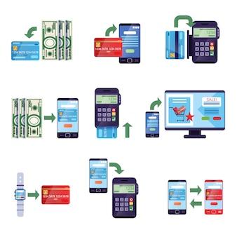 Betaalmethoden in detailhandel en online aankopen, online betalingsconcept illustraties