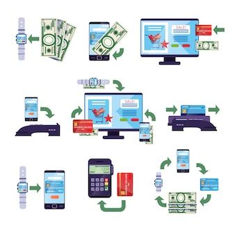 Betaalmethoden in detailhandel en online aankopen, online mobiel betalingsconcept illustraties