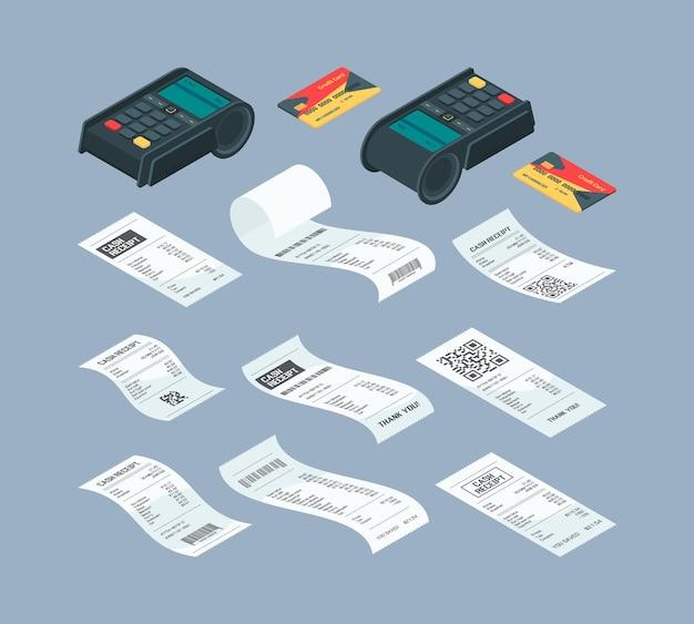 Betaalterminal isometrisch. aankoop financiële papieren cheque en koopmachine voor nfc-kaartbetaling bankcommunicatie vectorillustraties. controleer betaalterminal, creditcardtransactie