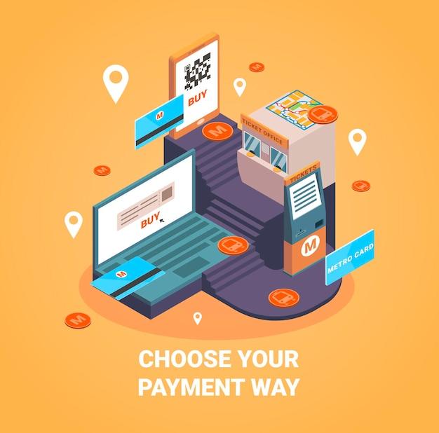 Betaalwijze met online betalingssymbolen isometrische illustratie