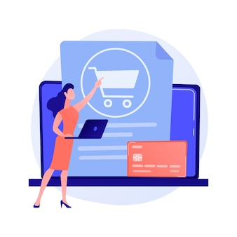 Betalen, contactloos betalen met creditcard. bestel mand, laptop, bankpas. mannelijke online klant met tablet stripfiguur.