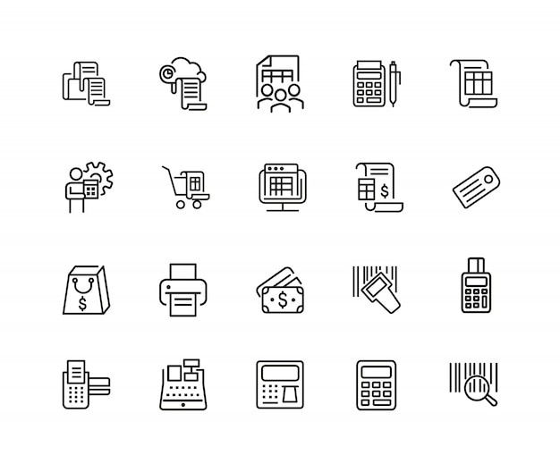 Betaling pictogrammen. set van twintig lijn pictogrammen. afdrukken, bon, rekenmachine.