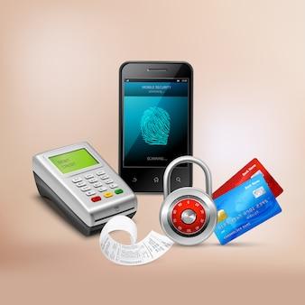 Betaling via mobiele telefoon met biometrische bescherming realistische samenstelling op beige