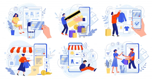 Betaling via online winkel. bankcreditcards, veilige online betalingen en financiële factuur. smartphone-portemonnees, digitale betaaltechnologie en moderne retail vlakke afbeelding set. betalen via internet