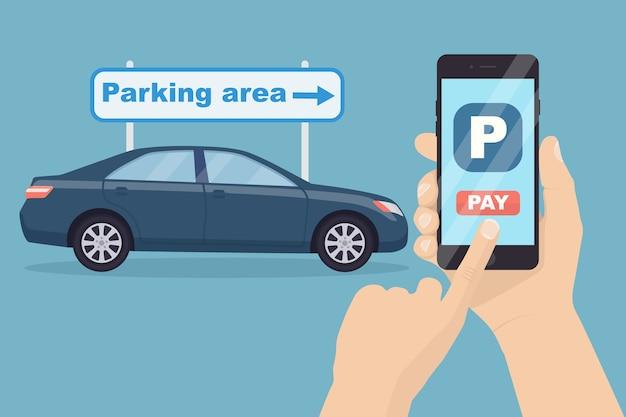 Betaling voor parkeren via mobiele telefoon-app. met behulp van online bankieren op smartphone