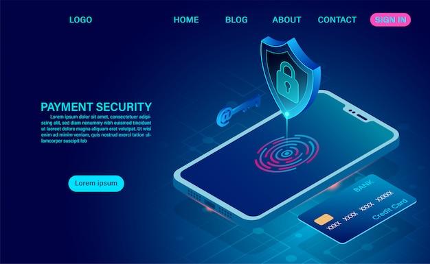 Betalingsbeveiligingsconcept en gegevensbescherming. creditcard beveiligingscontroles op mobiele telefoon voordat u elke keer betaalt. 3d isometrische plat ontwerp. illustratie