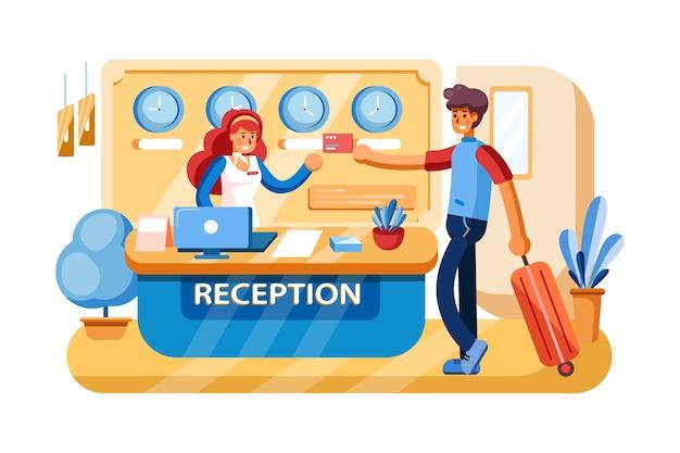 Betalingssysteem bij de receptie van het hotel