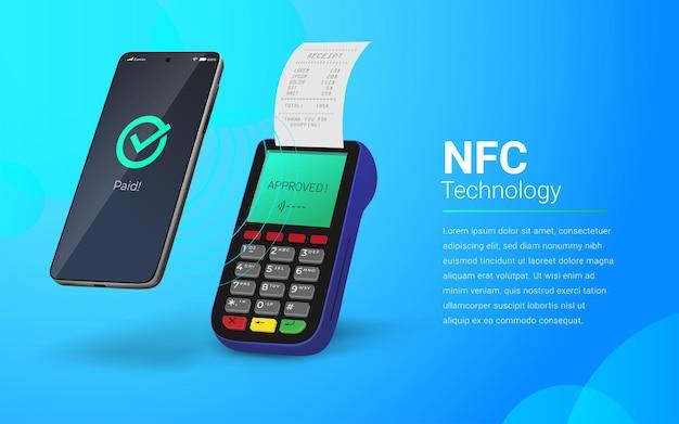 Betalingsverwerking met behulp van nfc-technologie touchless betalingsillustratie
