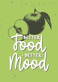 Beter eten beter humeur moderne monolijnkalligrafie met appelschets handgeschreven letters