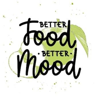 Beter eten beter humeur penseelkalligrafie handgeschreven letters met schets van appel