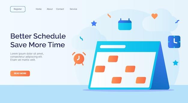 Beter schema bespaar meer tijd kalenderpictogramcampagne voor de bestemmingssjabloon van de startpagina van de website met cartoonstijl