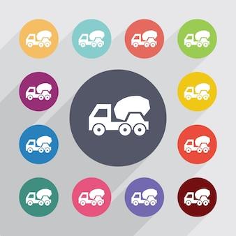 Betonmixer cirkel, plat pictogrammen instellen. ronde kleurrijke knopen. vector
