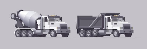 Betonmixer en kiepwagen. geïsoleerde amerikaanse cementvrachtwagen. zware lege vrachtwagen. verzameling