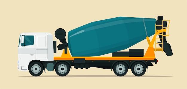 Betonmixervrachtwagen die op beige wordt geïsoleerd