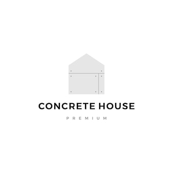 Betonnen huis logo pictogram
