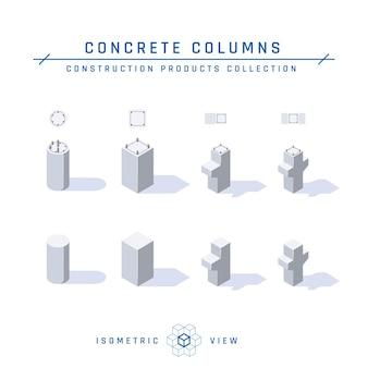Betonnen kolommen, isometrische weergave set van pictogrammen voor architectonische ontwerpen in vlakke stijl