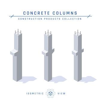 Betonnen kolommen, isometrische weergave.