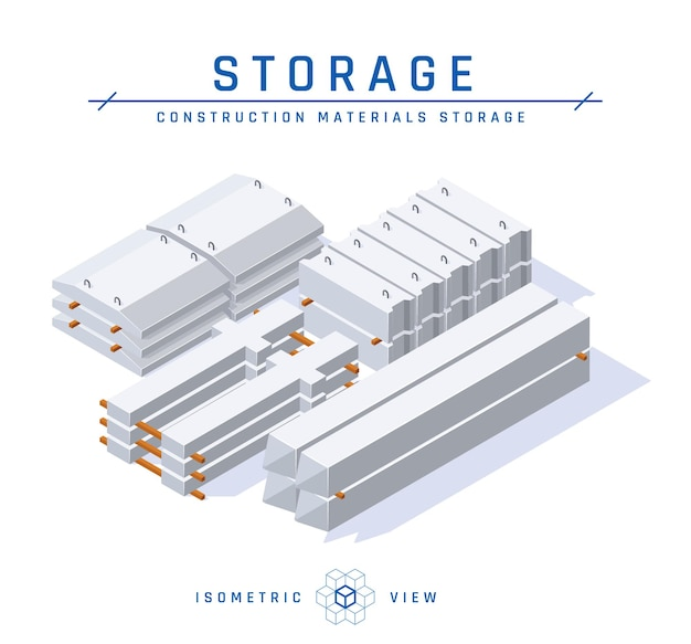 Betonnen opslag concept isometrische weergave. set bouwartikelen