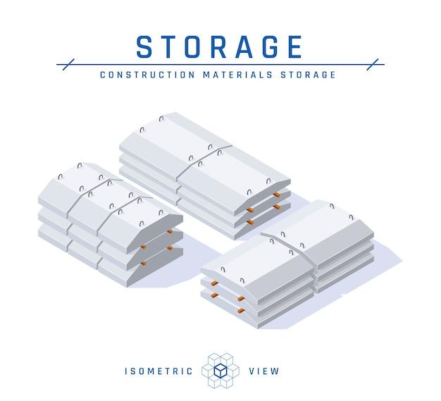 Betonnen opslagconcept, isometrische weergave van gewapende betonproducten in vlakke stijl.