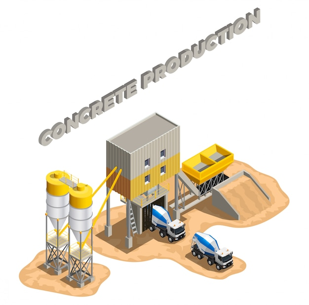 Betonproductie isometrische samenstelling met bewerkbare tekst en fabrieksgebouwen cementfabriek faciliteiten met transportbanden