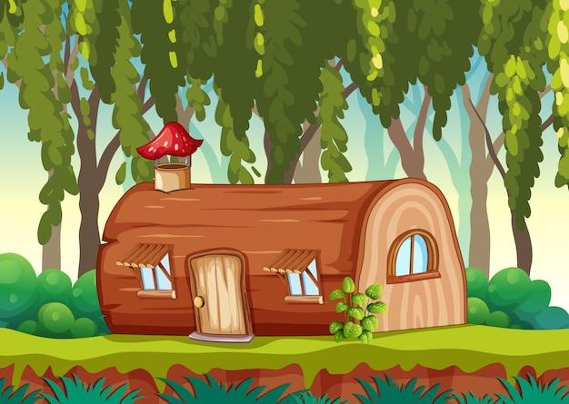 Betoverde houten huis in de natuur