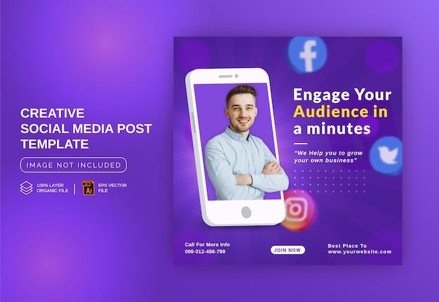 Betrek uw publiek een minuutje om hun bedrijf te laten groeien in online concept instagram post-sjabloon