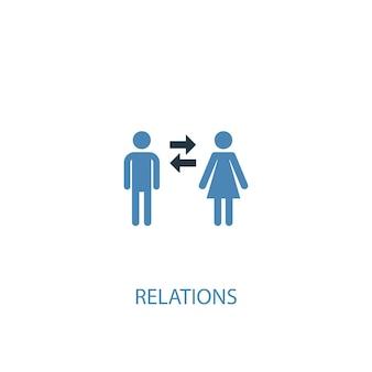 Betrekkingen concept 2 gekleurd icoon. eenvoudige blauwe elementenillustratie. relaties concept symbool ontwerp. kan worden gebruikt voor web- en mobiele ui/ux